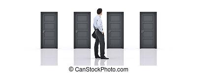 Businessman choosing the right door. 3d rendering