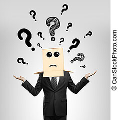 businessman choosing with box in head