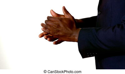 Businessman clapping hands on white background in slow...
