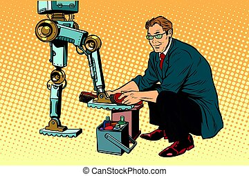 Businessman cleans shoes robot. Evolution and the technological revolution. Pop art retro vector illustration