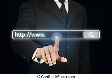 Businessman clicking Internet address bar