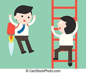 Businessman climb a ladder and Businessman flying with jet pack, fast track of business competition concept