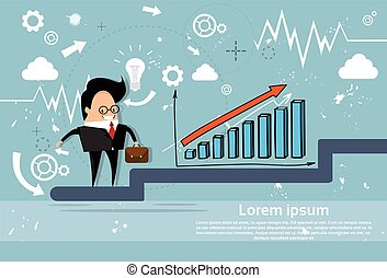 Businessman Climb Financial Bar Graph Business Man Growth Chart
