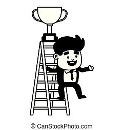 businessman climb ladder trophy