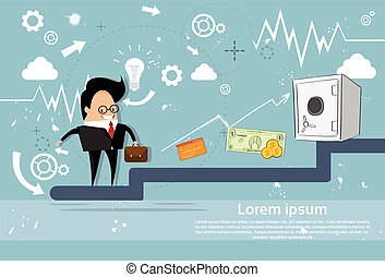 Businessman Climb Stairs Financial Success Business Man Growth Chart
