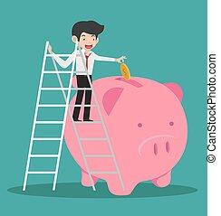 businessman climb up a ladde putting coin a Piggy bank concept