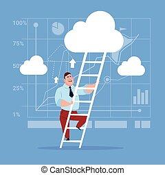 Businessman Climb Up Ladder Stairs, Concept Business Man Sky Clouds