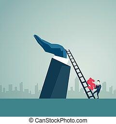 Businessman Climb Up Ladder Stairs Hold Dollar Sign, Business Man Finance Success Concept