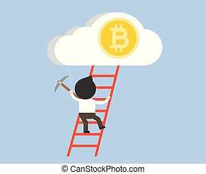 Businessman climb up the ladder to bitcoin in cloud