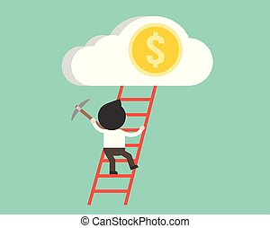 Businessman climb up the ladder to dollar coin in cloud