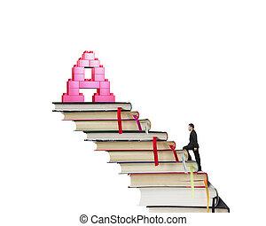Businessman climbing books stairs toward alphabet A shape blocks