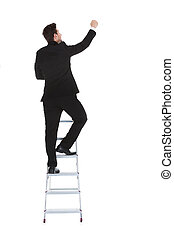 Businessman Climbing Career Ladder