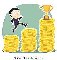 Businessman climbing coin stairs to trophy