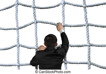 Businessman climbing crisscross rope net isolated on white...