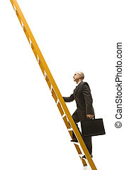 Businessman climbing ladder. - Caucasian middle-aged...