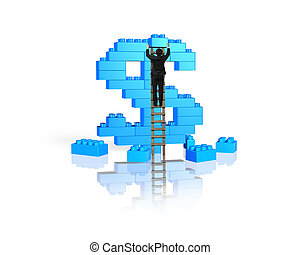 Businessman climbing ladder completing dollar sign shape stack blocks