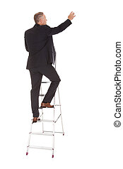 Businessman Climbing Ladder