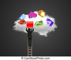 Climbing businessman get app icon from black cloud with sky