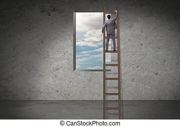 Businessman climbing ladder in business concept