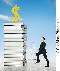Businessman climbing ladder to dollar