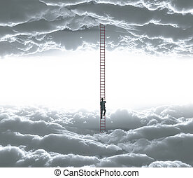 man climbing - businessman climbing o ledder from cloud to...