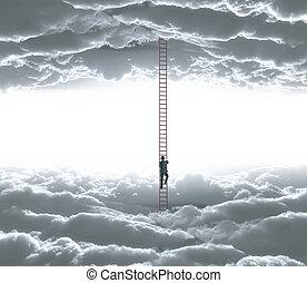 man climbing - businessman climbing o ledder from cloud to...