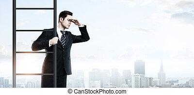 man climbing on ladder
