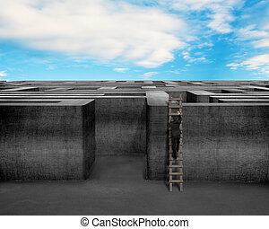 Businessman climbing on ladder to top of 3D concrete maze structure with blue sky