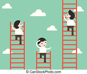 Businessman climbing on ladder vector, competition situation