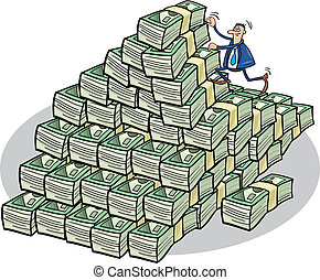 Businessman climbing on money mountain - Illustration of...