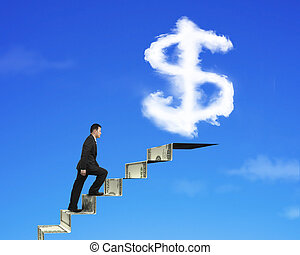 Businessman climbing on money stairs with dollar sign shape clou