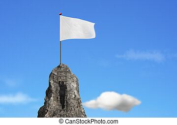 businessman climbing on peak with blank white flag and sky