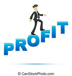 businessman climbing on profit text - illustration of...
