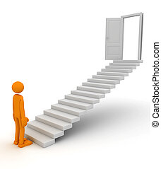 Businessman climbing on stairs