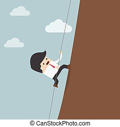 Businessman climbing on the rocks, VECTOR, EPS10