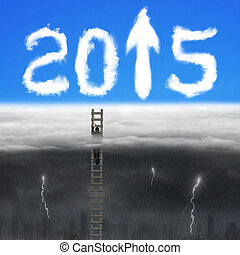 Businessman climbing on wooden ladder for 2015 arrow sign clouds
