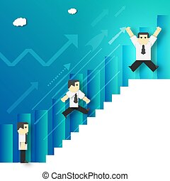 Businessman Climbing the Career Ladder.
