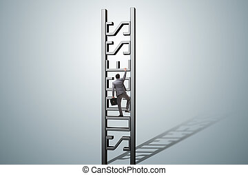 Businessman climbing the career ladder of success