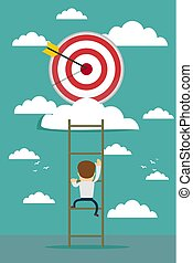 businessman climbing the ladder for target,