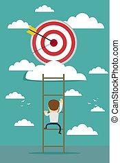businessman climbing the ladder for target,