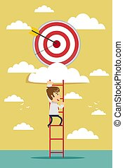 businessman climbing the ladder for target
