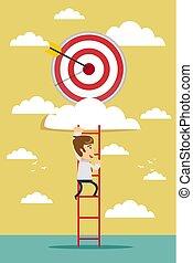 businessman climbing the ladder for target