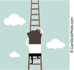 Businessman climbing the ladder