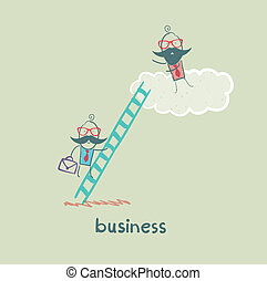 businessman climbing the stairs to the cloud to the boss