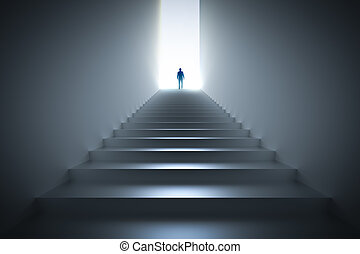 Businessman climbing the stairs towards light.