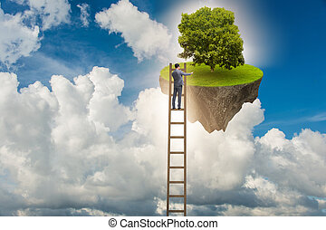 Businessman climbing to floating island