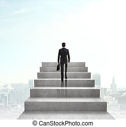 businessman climbing to stairs on city background