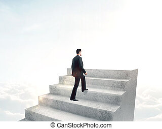 steps to success man climbing stairs with captions steps to