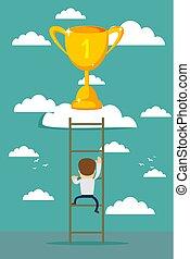 Businessman climbing to Success.