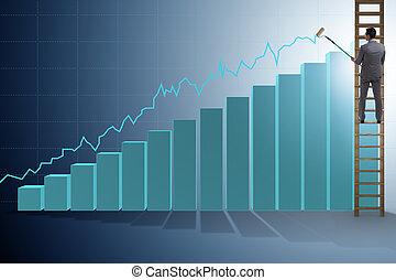 Businessman climbing towards growth in statistics